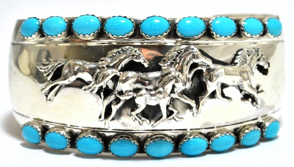 Old Pawn Navajo Turquoise Sterling Silver Running Horse