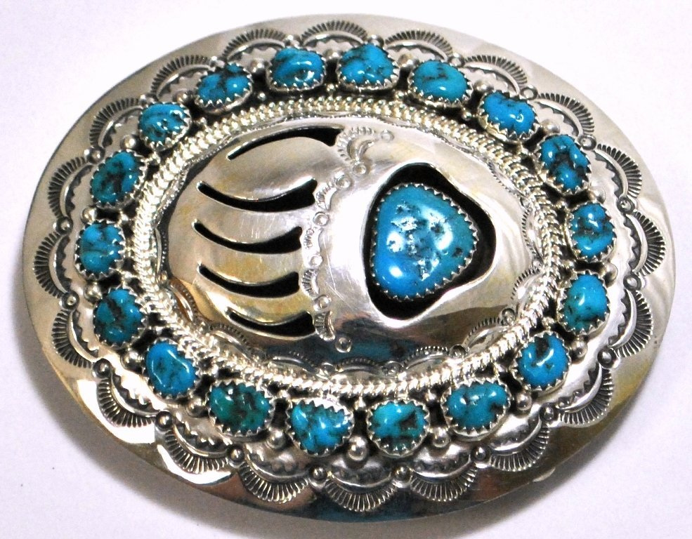 Navajo Turquoise Sterling Silver Bear Paw Buckle - Wilb