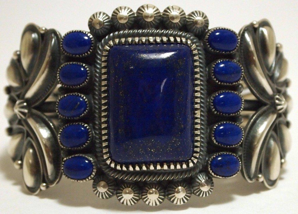 Navajo Lapis Lazuli Sterling Silver Cuff Bracelet - Kir
