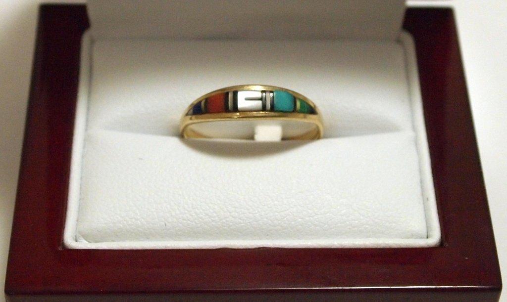 Dead Pawn Zuni Multi-Stone Inlay 14k Gold Women's Ring