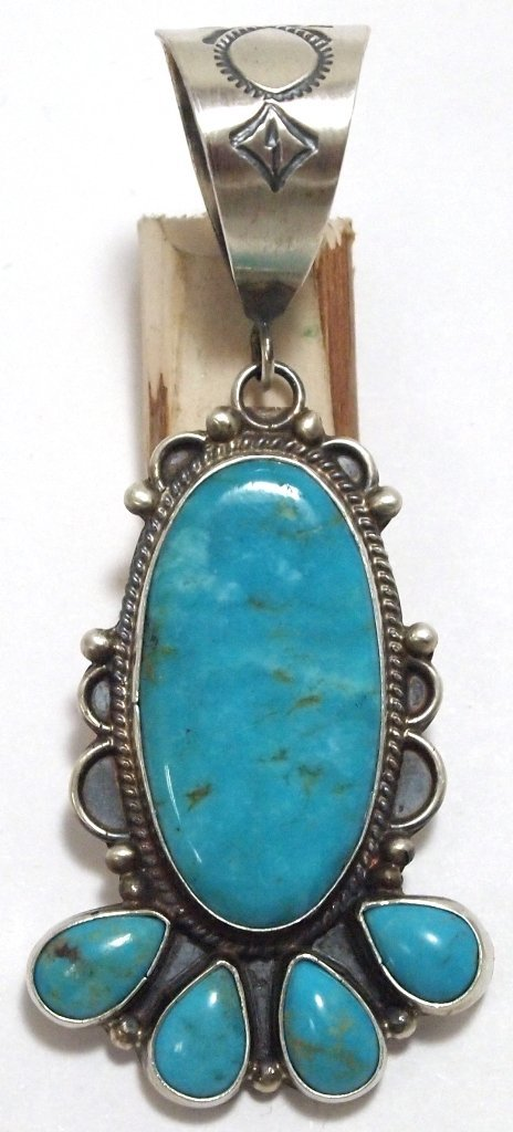 Navajo Turquoise Sterling Silver Pendant - Dean Brown