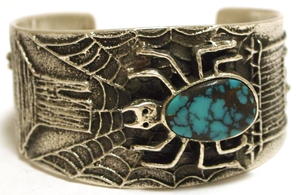 Navajo Turquoise Sterling Silver Tufacast Spider Web Sm