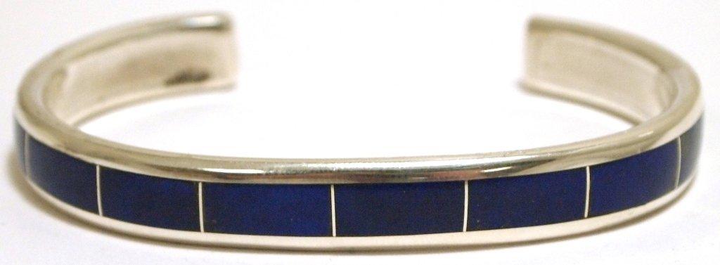Zuni Lapis Lazuli Inlay Sterling Silver Cuff Bracelet -