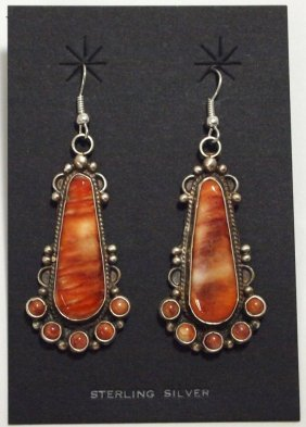 Navajo Spiny Oyster Sterling Silver French Hook Earring