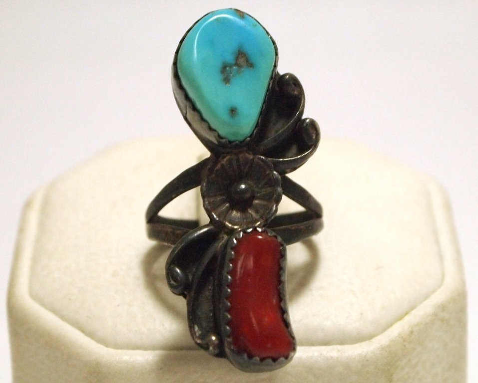 Old Pawn Navajo Coral & Turquoise Sterling Silver Women