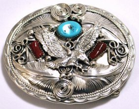 Navajo Coral & Turquoise Sterling Silver Flying Bird Bu