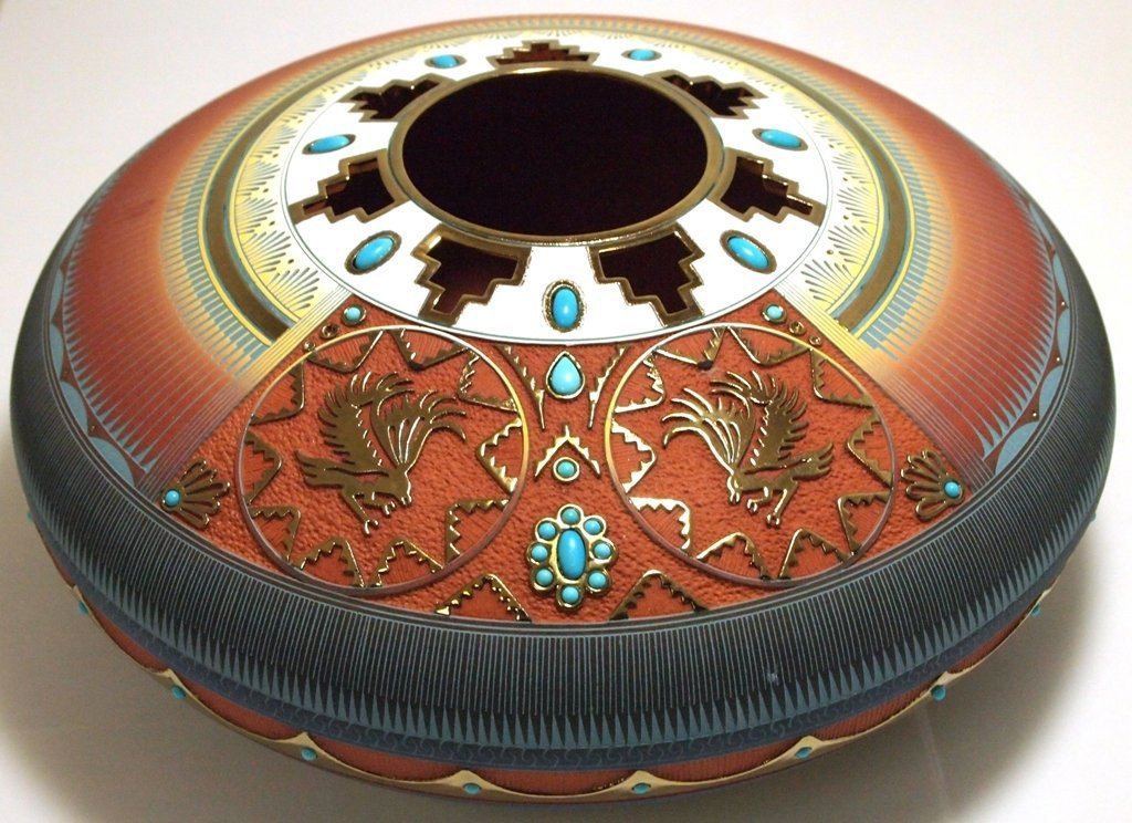 Navajo Etched & Painted Turquoise & 14k Gold Eagle Pott