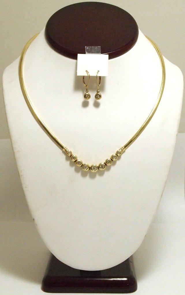 Dead Pawn Non-Native Diamond 14k Gold Necklace & Earrin