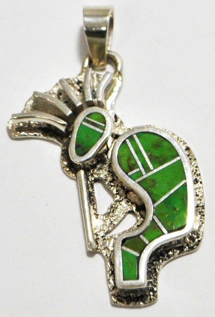Navajo Gaspeite Inlay Sterling Silver Kokopelli Pendant