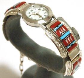 Zuni Multi-Stone Inlay Sun Face Link Bracelet Women's W