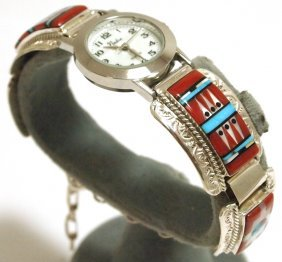 Zuni Multi-Stone Inlay Sun Face Link Bracelet Women's W