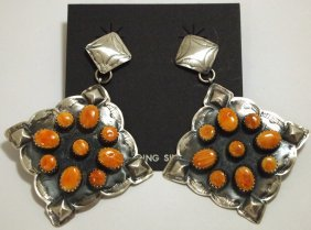Navajo Orange Spiny Oyster Sterling Silver Earrings - A