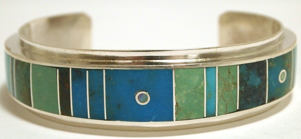 Navajo Multi-Turquoise Inlay Sterling Silver Cuff Brace