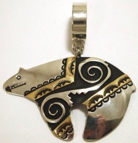 Navajo 12k Gold Fill over Sterling Silver Bear Pendant