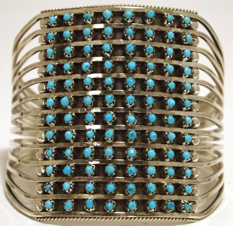 Zuni Turquoise Dots 12-Row Sterling Silver Cuff Bracele