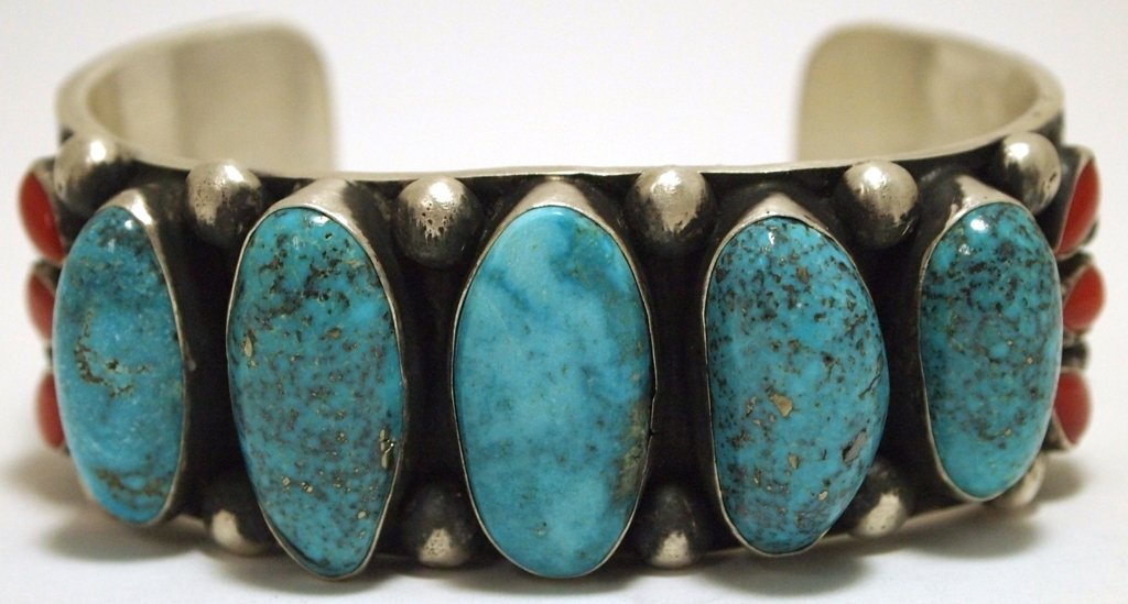 Navajo Coral & Morenci Turquoise Sterling Silver Cuff B