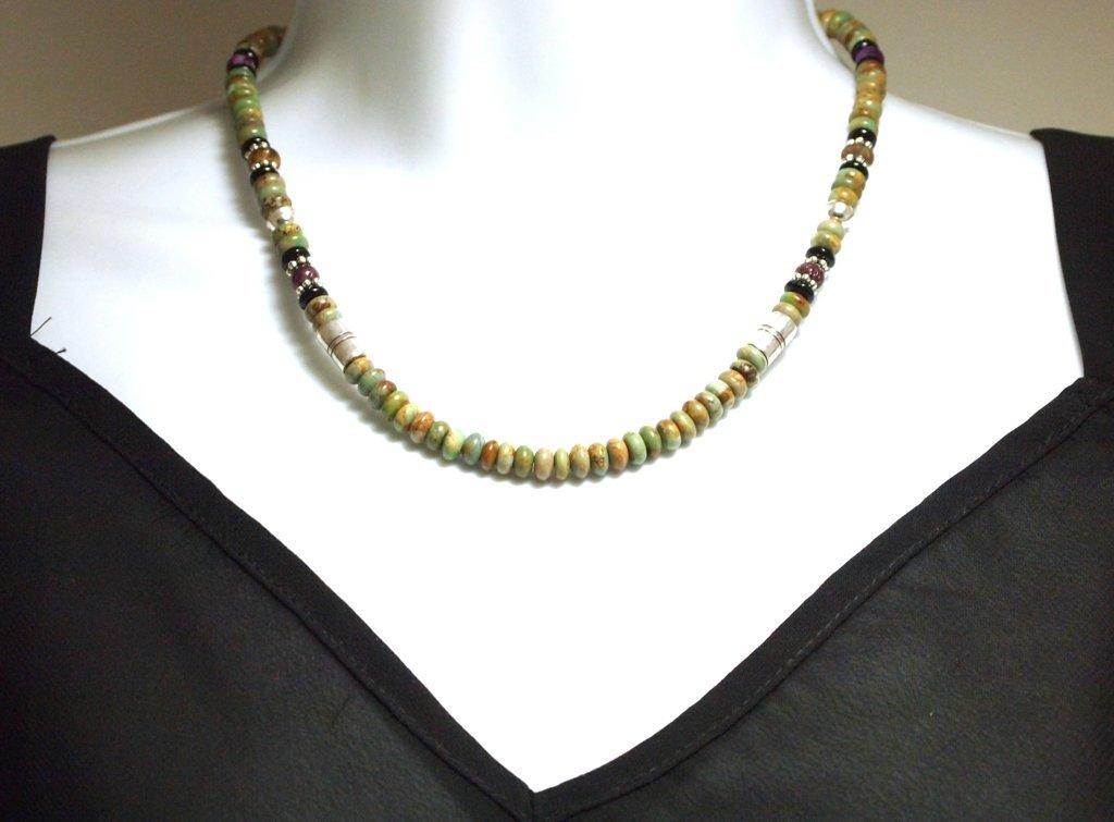 Navajo Green Turquoise & Multi-Stone Sterling Silver Ne