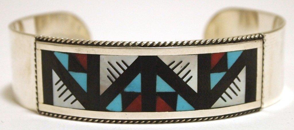 Zuni Multi-Stone Inlay Sterling Silver Cuff Bracelet -