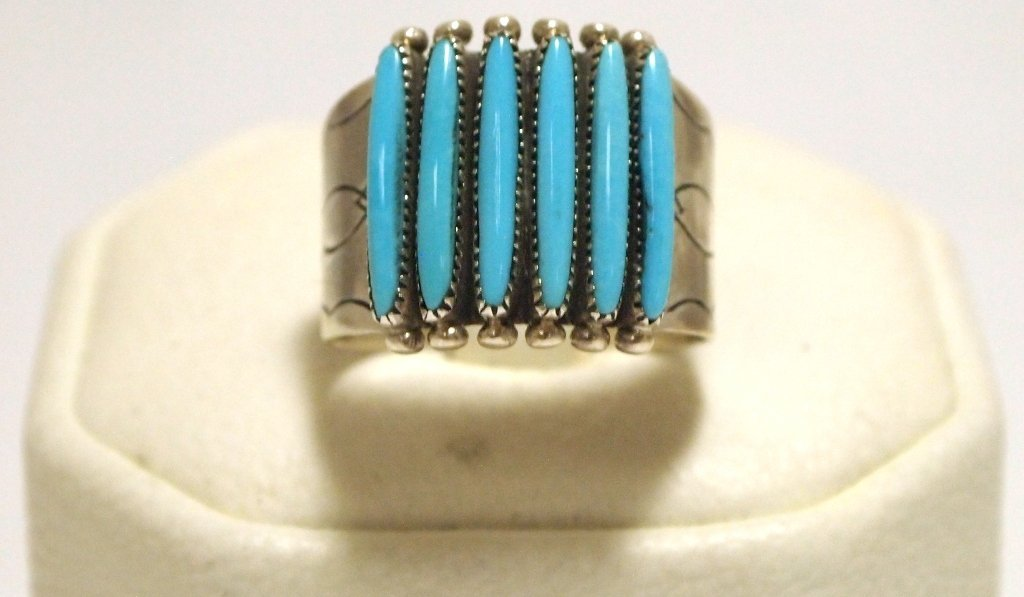 Zuni Turquoise Petit Point Sterling Silver Men's Ring -