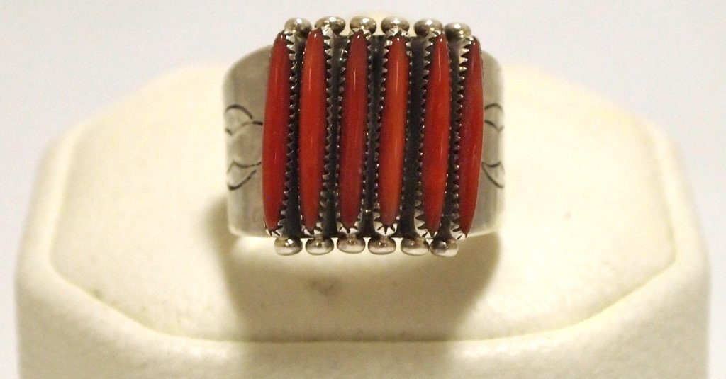 Zuni Coral Petit Point Sterling Silver Men's Ring - Shi