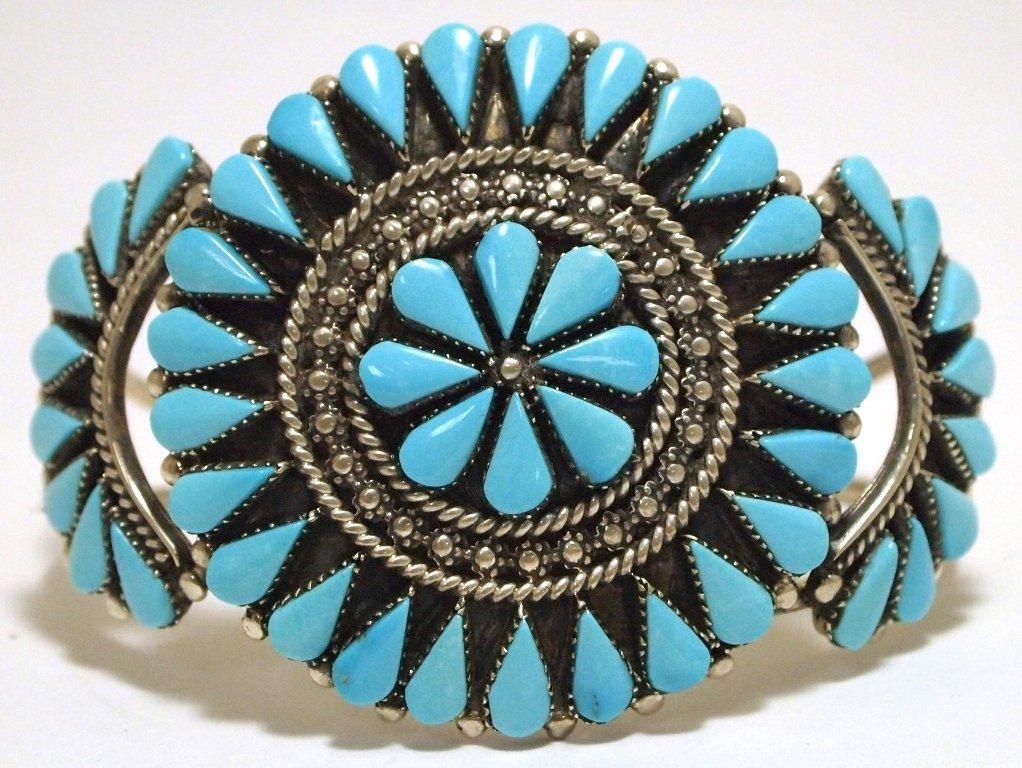 Zuni Turquoise Sterling Silver Cuff Bracelet - Augustin