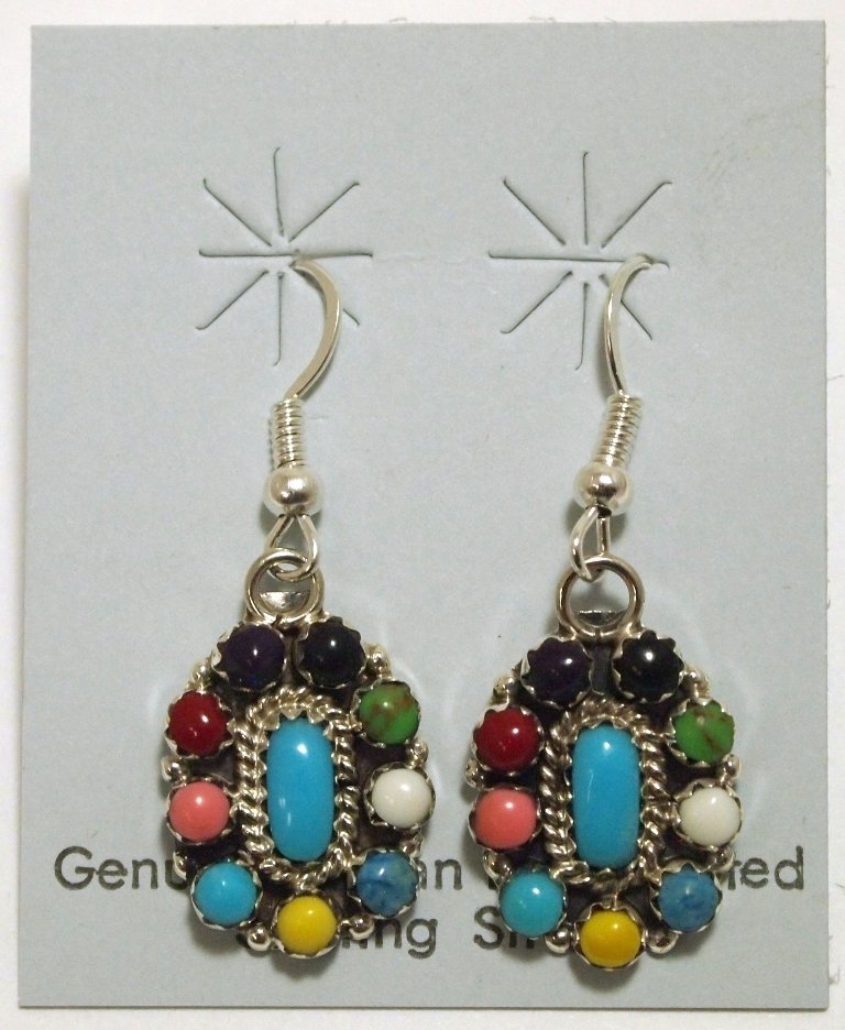 Navajo Multi-Stone Sterling Silver French Hook Earrings