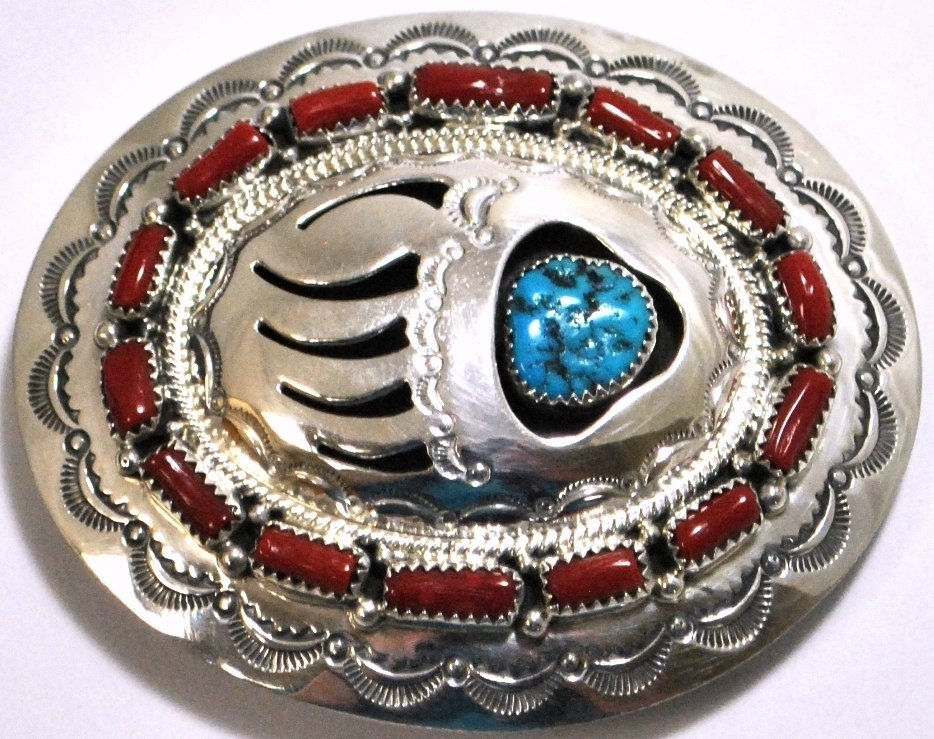 Navajo Coral & Turquoise Sterling Silver Bear Paw Buckl