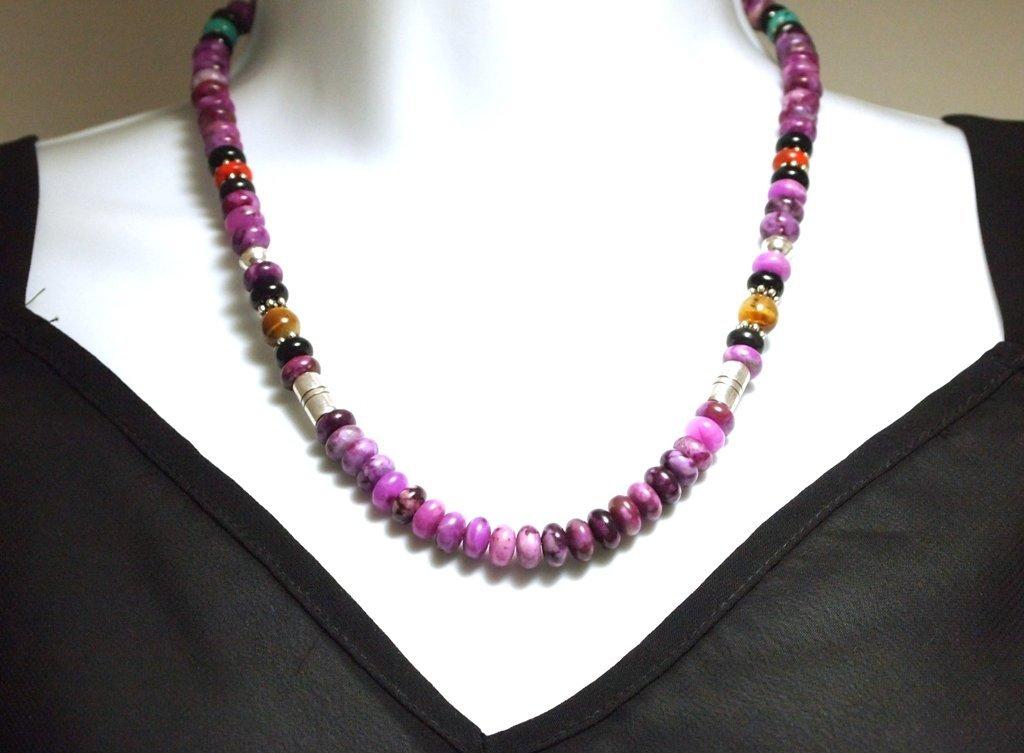 Navajo Sugilite & Multi-Stone Sterling Silver Necklace