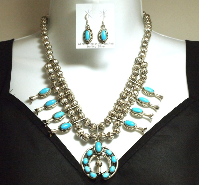 Navajo Turquoise Sterling Silver Squash Blossom Necklac