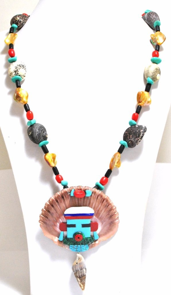 Old Pawn Zuni Multi-Stone & Shell Necklace - Beverly Et