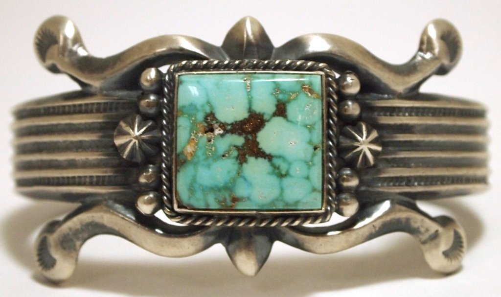 Old Pawn Navajo #8 Turquoise Sterling Silver Cuff Brace