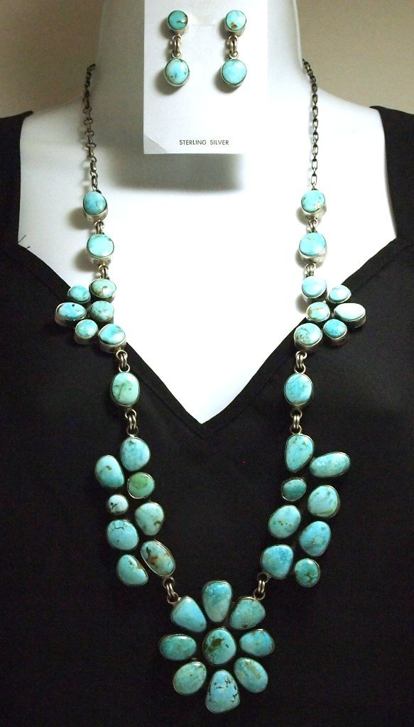 Navajo Kingman Turquoise Sterling Silver Long Necklace