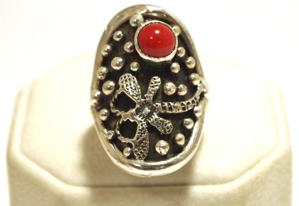 Navajo Coral Sterling Silver Dragonfly Women's Ring - S