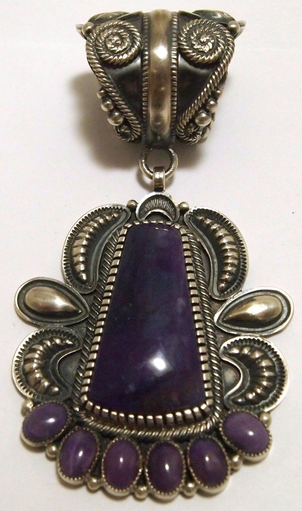 Old Pawn Navajo Sugilite Sterling Silver Pendant - Kirk