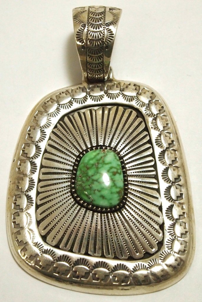 Old Pawn Navajo Carico Lake Turquoise Sterling Silver P