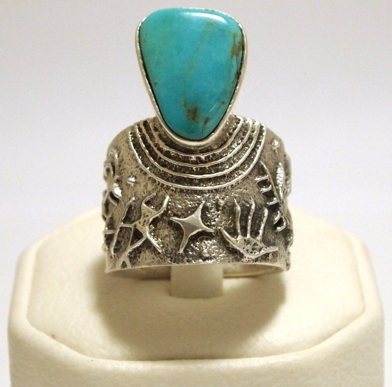 Navajo Turquoise Sterling Silver Tufacast Men's Ring -