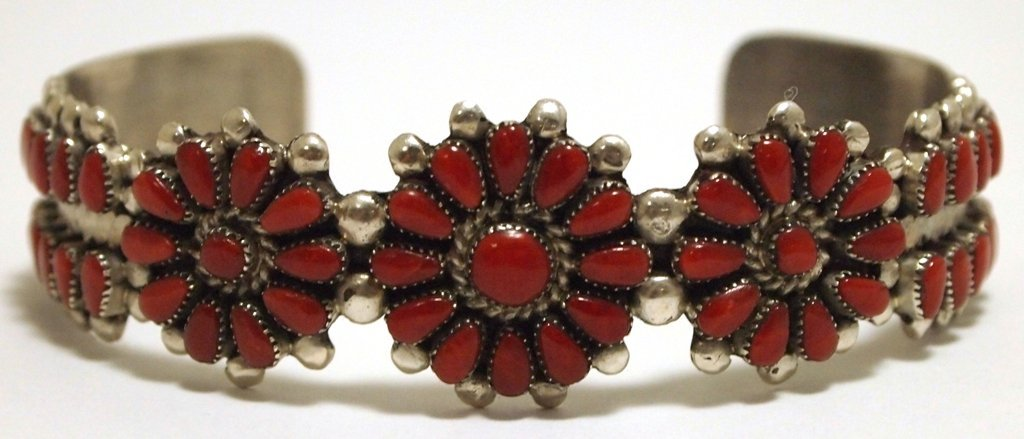 Old Pawn Zuni Coral Sterling Silver Cuff Bracelet - Ire