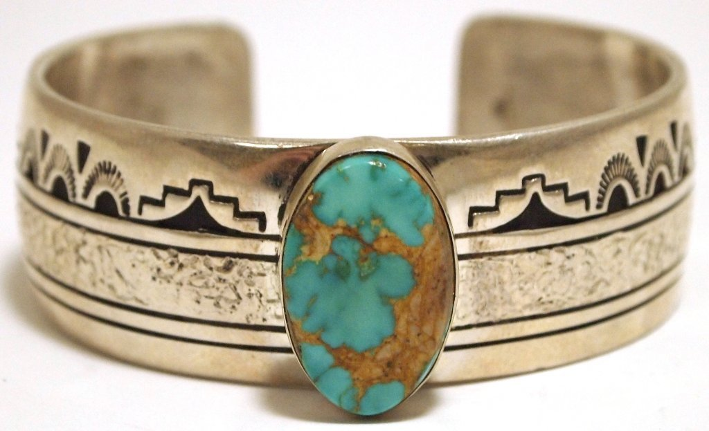 Old Pawn Navajo Pilot Mountain Turquoise Sterling Silve