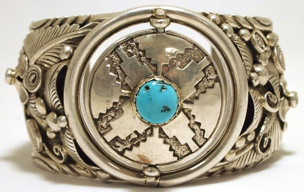 Old Pawn Navajo Turquoise Sterling Silver Spinner Watch