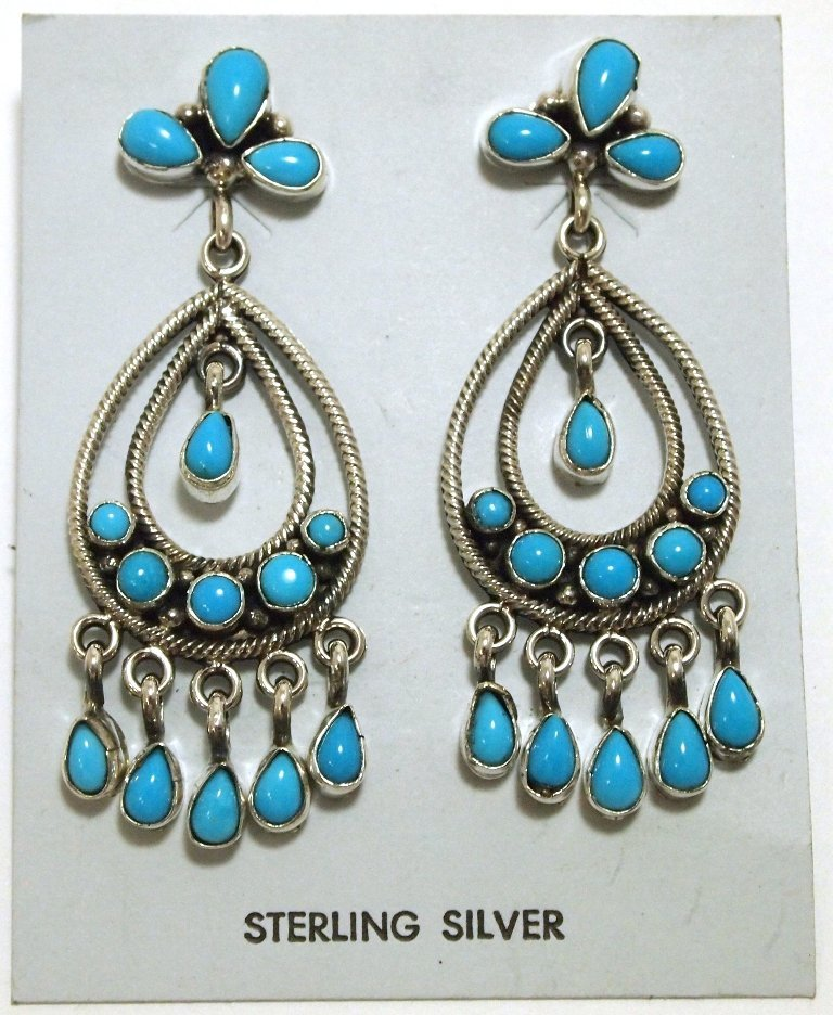 Navajo Turquoise Sterling Silver Post Earrings - Eleano