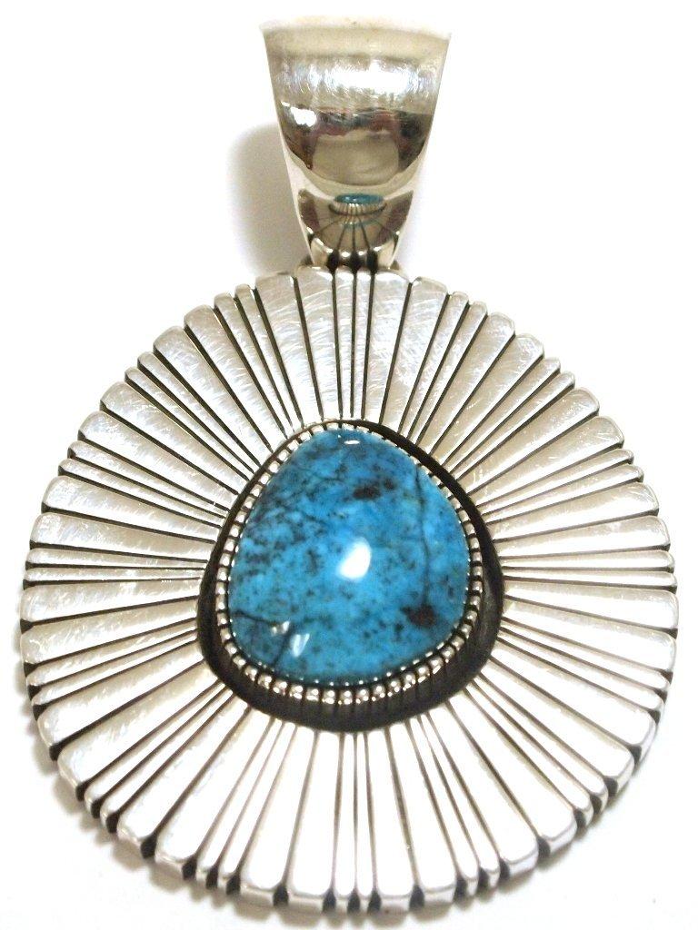 Navajo Kingman Turquoise Sterling Silver Pendant - Raym