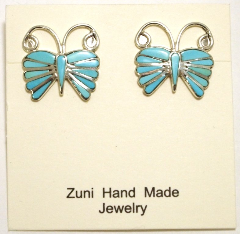 Zuni Turquoise Inlay Sterling Silver Butterfly Post Ear