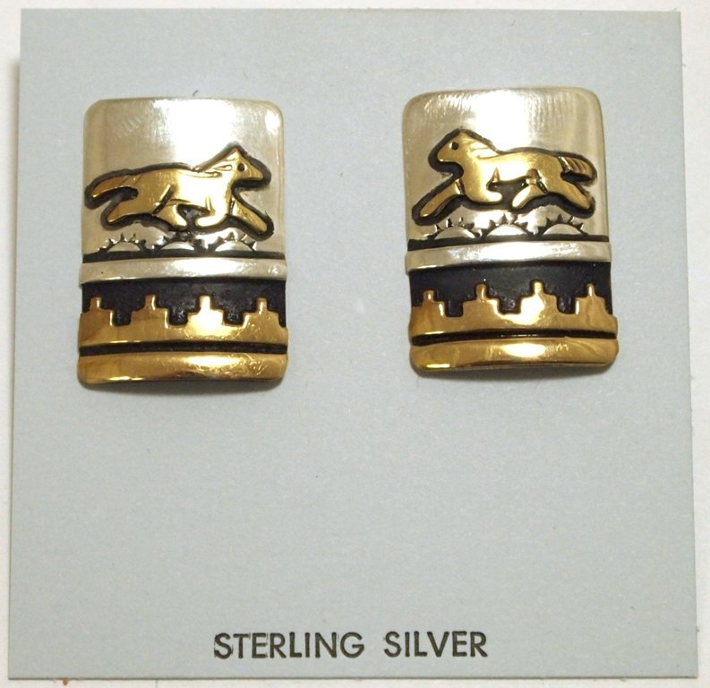 Navajo 12k Gold Fill over Sterling Silver Horses Post E
