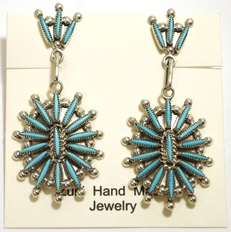 Zuni Turquoise Needlepoint Sterling Silver Post Earring