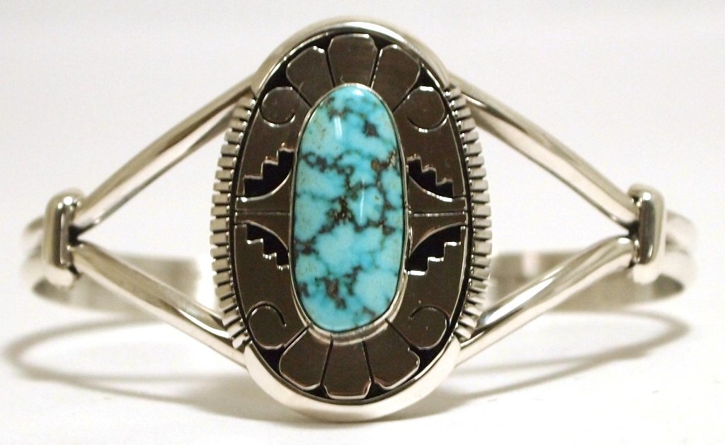 Navajo Spider Web Kingman Turquoise Sterling Silver Cuf