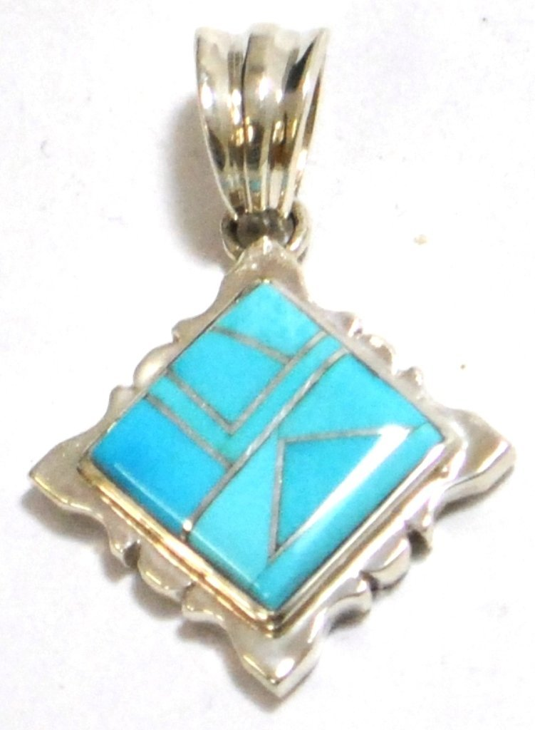 Navajo Turquoise Rhombus Sterling Silver Pendant - Calv
