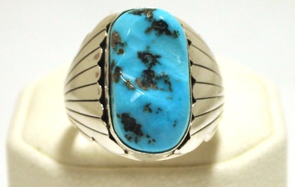 Navajo Sleeping Beauty Turquoise Sterling Silver Men's