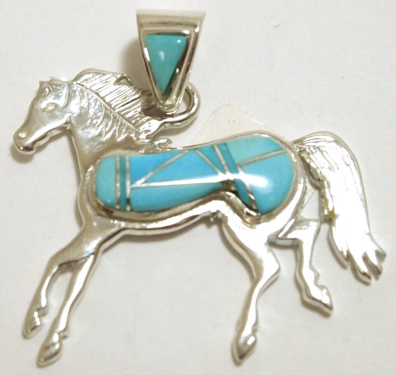 Navajo Turquoise Sterling Silver Horse Pendant - Calvin