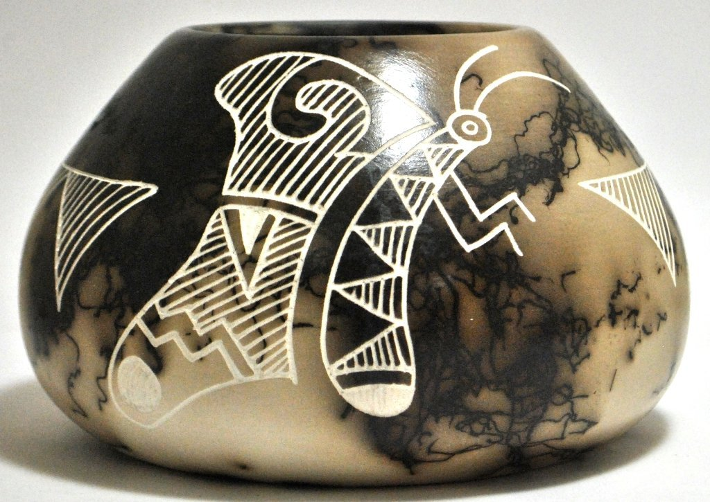 Acoma Pueblo Butterfly Etched Horsehair Pottery - Gary