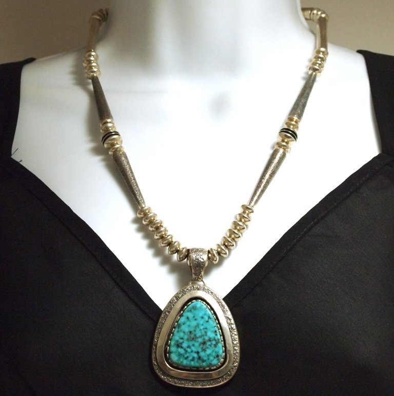 Old Pawn Navajo Stormy Mountain Turquoise Sterling Silv